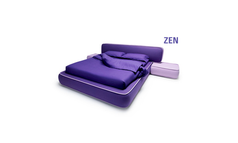 Impressive Zen Bed with fabric lining, substrate, headboard and pouf