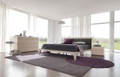 Wooden Modern Bed Atelier with leather top cover
