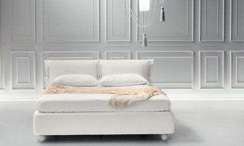 Modern Eden Bed with cloth and wooden leg