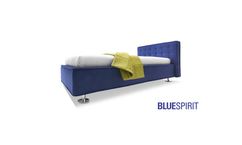 Modern Blue Bed with removable fabric lining and quilted design on the headboard