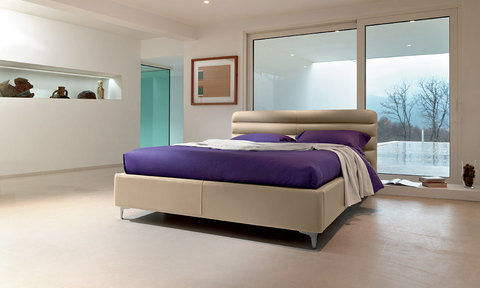 Modern Wave Bed with fabric or leather lining with metal legs and velvet headboard