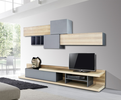 Modern Wooden Living Room Composition FOREST With Low TV Stand And Hanging  Cabinets Part 90